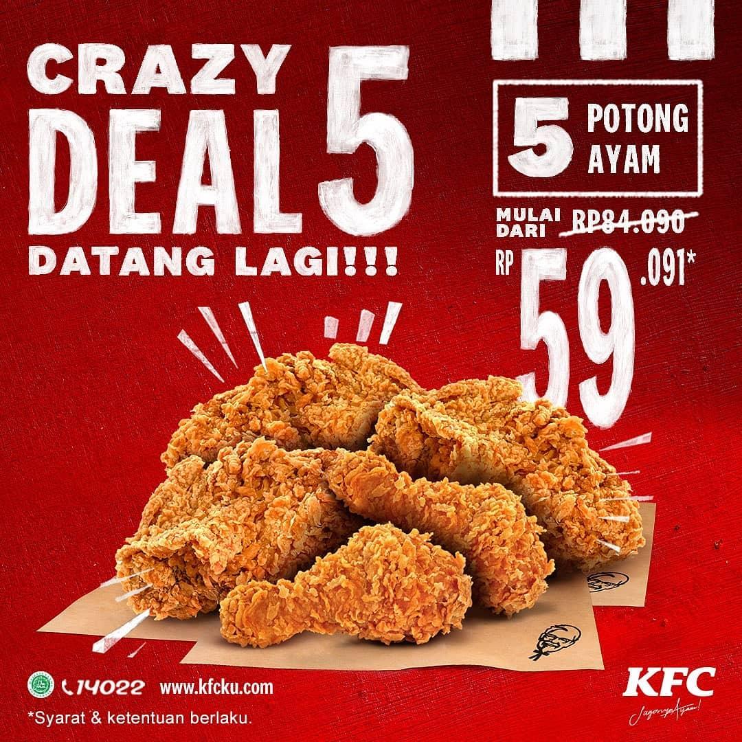 Promo KFC September 2020 : Crazy Deal 5 via www.instagram.com/kfcindonesia