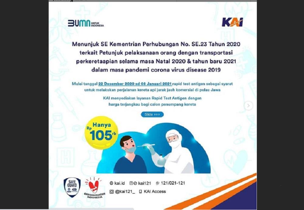 DAOP 6 Yogyakarta Tambah Lokasi Rapid Test Antigen di Stasiun Lempuyangan